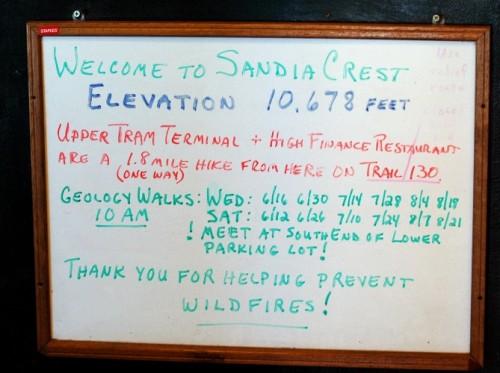 Sign at Sandia Crest store
