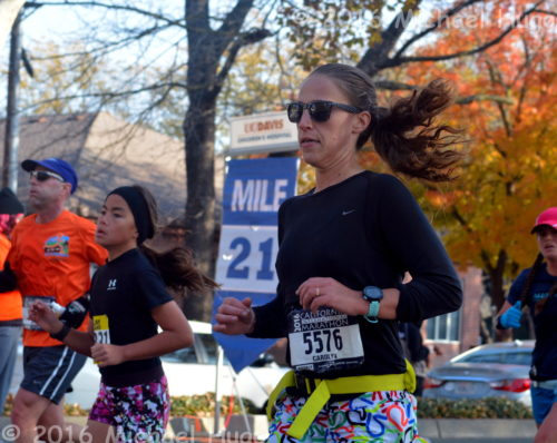 Carolyn Lyon at the 21 mile mark CIM 2016